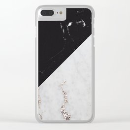 Black Marble Meets White Glitter Marble #1 #decor #art #society6 Clear iPhone Case