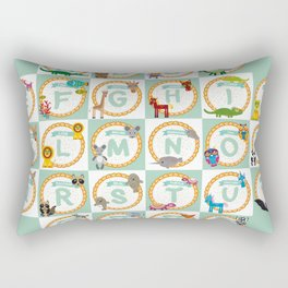ABC alphabet for kids from A to Z. Set of funny cartoon animals character. zoo Rectangular Pillow