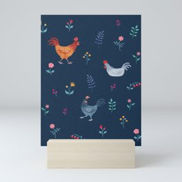 Little Hens (blue) Mini Art Print