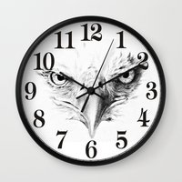eagle Wall Clocks featuring Eagle by Anna Shell