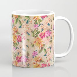 Golden Flitch (Digital Vintage Retro / Glitched Pastel Flowers - Floral design pattern) Coffee Mug