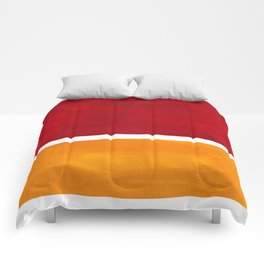 Burnt Red Yellow Ochre Mid Century Modern Abstract Minimalist Rothko Color Field Squares Comforters