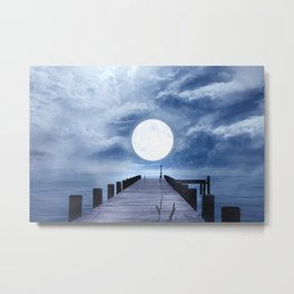 Full Moon At The End Of The Pier Metal Print