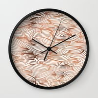 rose gold Wall Clocks featuring Rose Gold Waves by Cat Coquillette