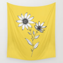 Wildflower line drawing | Botanical Art Wall Tapestry