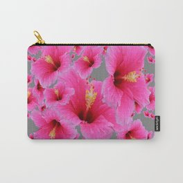 CHARCOAL GREY GIRLY PINK HIBISCUS GARDEN ART Carry-All Pouch