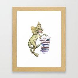 Dilophosaurus Loves Books (smaller) Framed Art Print