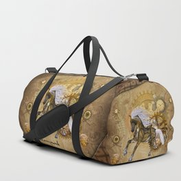 Wonderful steampunk horse with white mane Duffle Bag