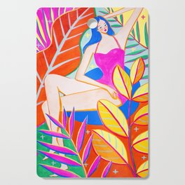 Girl and Colorful Leaves Cutting Board
