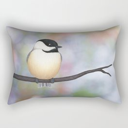 black capped chickadee on a branch Rectangular Pillow