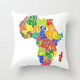 African Continent Cloud Map Throw Pillow