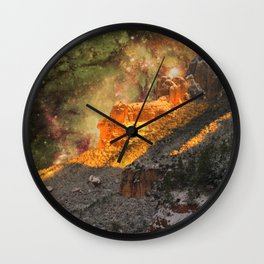 Sacred Mountains (galaxy sky) Wall Clock