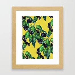 Dark Berry Floral Framed Art Print