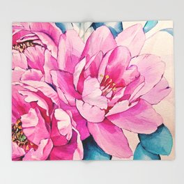 Pink Floral Watercolor (Color) Throw Blanket