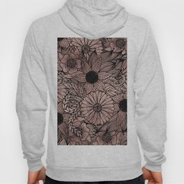 Floral Rose Gold Flowers and Leaves Drawing Black Hoody