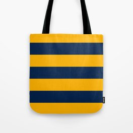 Slate Blue and Golden Yellow Stripes Tote Bag