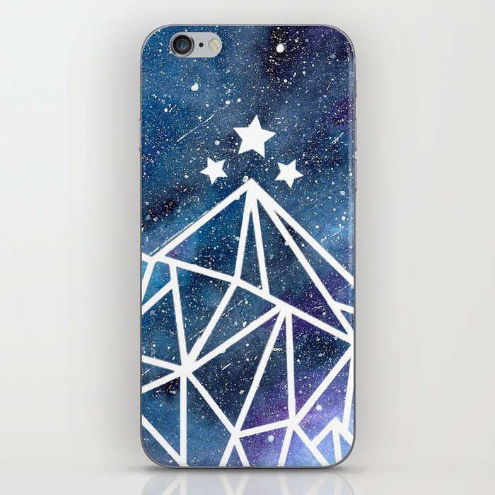 Watercolor Mountains, Galaxy Night  iPhone Skin