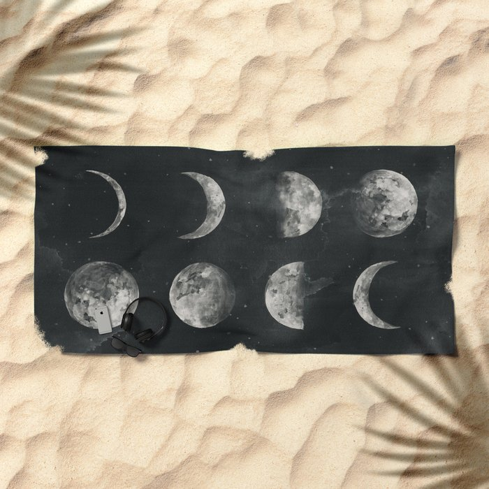 Watercolor moon phases Beach Towel