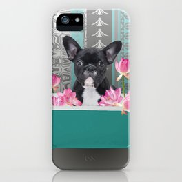 Turquoise Bathtub - French Bulldog Lotus Flower iPhone Case