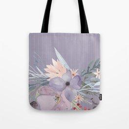 Striped Floral Lavender Bouquet Tote Bag