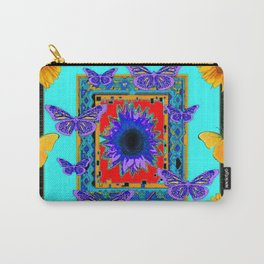 SOUTHWEST RED-BLUE BUTTERFLIES-SUNFLOWERS Carry-All Pouch