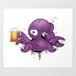 Octopus with Beer Art Print