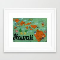 hawaii Framed Art Prints featuring HAWAII by Christiane Engel