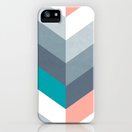 Vertical Chevron Pattern - Teal, Coral and Dusty Blues #geometry #minimalart #society6 iPhone Case