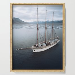 Sailing Ship in front of a Mountain Valley in Norway Serving Tray