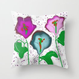 Glass Fused Flowers Digital Throw Pillow