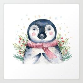 Christmas Penguin Art Print
