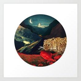 Night Poppy Hunting :: Fine Art Collage Art Print