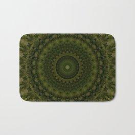 Mandala in olive green tones Bath Mat