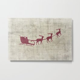 Rustic Santa and Reindeer Metal Print