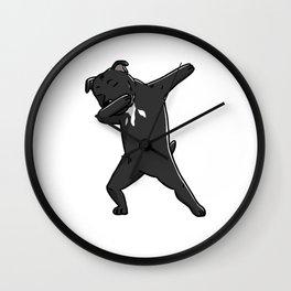 Funny Dabbing Staffordshire Bull Terrier Dog Dab Dance Wall Clock