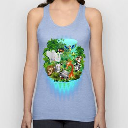 Wild Animals Cartoon on Jungle Unisex Tank Top