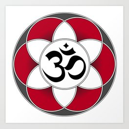 Om Seed of Life Red Art Print