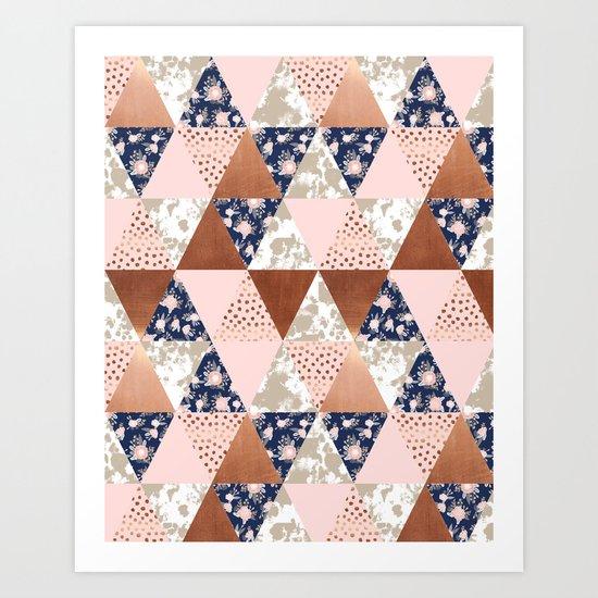 Floral bouquet pastel navy pink florals painted quilt metallic pattern basic minimal quilt pattern Art Print
