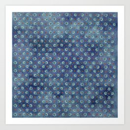 Amazing Watercolor Snowflakes Pattern on the dark blue background Art Print