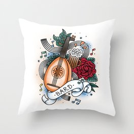 Bard - Vintage D&D Tattoos Throw Pillow
