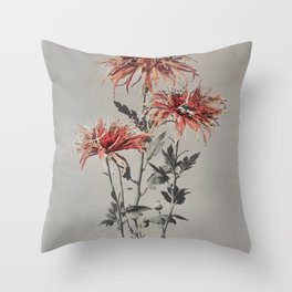 Kin–shi–shi, hand–colored collotype from Some Japanese Flowers (1896) by Kazumasa Ogawa Throw Pillow