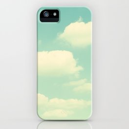 Mint Turquoise Sky Clouds, Teal Nursery Cloud Photography, Baby's Room Photo iPhone Case
