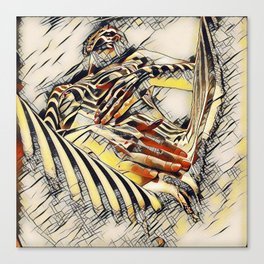 1177s-AK Erotica in the Style of Kandinsky Fingers on Pubis Striped Nude Canvas Print