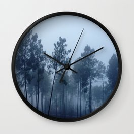 Fog and Forest II-wood,mist,romantic, greenery,sunset,dawn,Landes forest,fantasy Wall Clock