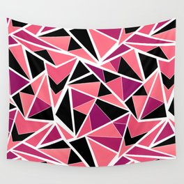 Abstract geometric pattern in black pink .Triangles . Wall Tapestry