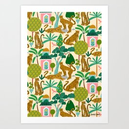 Cheetah Paradise Pattern Art Print