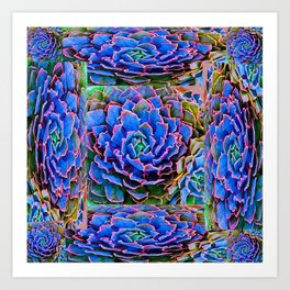 ORNATE BLUE-PINK SUCCULENT ART Art Print