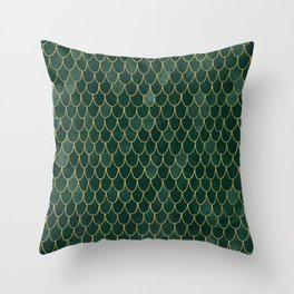 Mermaid Fin Pattern // Emerald Green Gold Glittery Scale Watercolor Bedspread Home Decor Throw Pillow