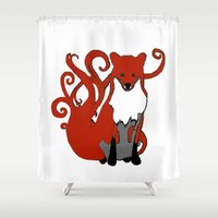kitsune Shower Curtains featuring Kitsune Guardian by CARLY DAVIS