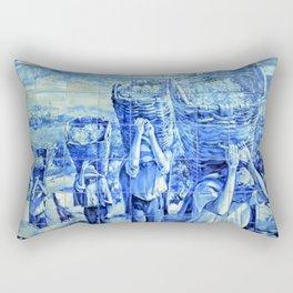 Portuguese blue tile art Rectangular Pillow